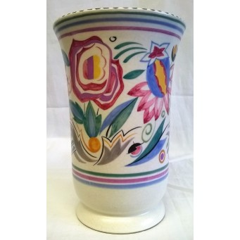 POOLE POTTERY TRADITIONAL LE PATTERN SHAPE 167 FLARED RIM VASE – 1930'S ART DECO STYLE DESIGN – IRIS SKINNER