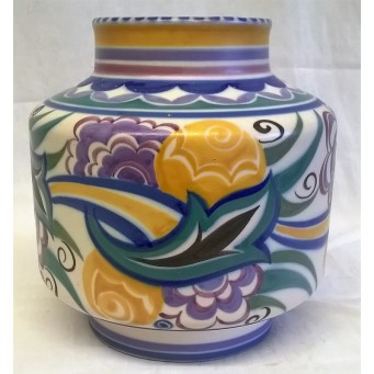 POOLE POTTERY TRADITIONAL CO PATTERN ART DECO DESIGN SHAPE 960 16cm VASE – EILEEN PRANGNELL