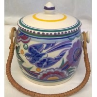 POOLE POTTERY TRADITIONAL PB BLUEBIRD PATTERN BISCUIT BARREL