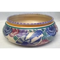 POOLE POTTERY TRADITIONAL PN BLUEBIRD & TRELLIS PATTERN SHAPE 632 BOWL – RUTH PAVELY