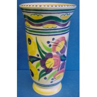 POOLE POTTERY TRADITIONAL YO FUSCHIA PATTERN TRUMPET VASE - GWEN HASKINS