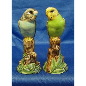 QUAIL BUDGERIGAR SALT & PEPPER SET – BLUE & GREEN
