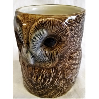 QUAIL TAWNY OWL PENCIL POT, DESK TIDY OR VASE