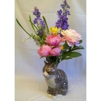 QUAIL CAT FLOWER VASE - MILLIE