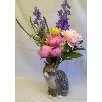 QUAIL CAT FLOWER VASE - MILLIE