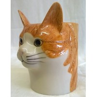 QUAIL CAT PENCIL POT, DESK TIDY OR VASE - SQUASH