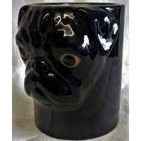 QUAIL PUG PENCIL POT, DESK TIDY OR VASE - BLACK