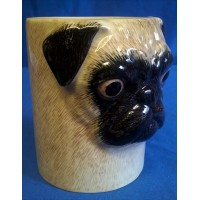 QUAIL PUG PENCIL POT, DESK TIDY OR VASE - FAWN