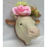 QUAIL HEREFORD BULL WALL VASE