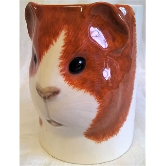 QUAIL GUINEA PIG PENCIL POT, DESK TIDY OR VASE – DUTCH RED & WHITE