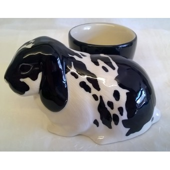 QUAIL LOP EARED RABBIT EGG CUP – BLACK & WHITE