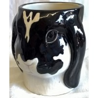QUAIL LOP EARED RABBIT POT OR VASE – BLACK & WHITE