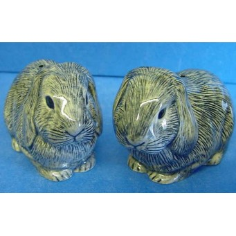 QUAIL LOP EARED RABBIT SALT & PEPPER SET - GREY