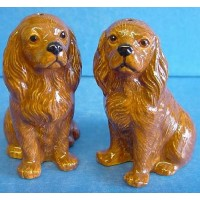 QUAIL CAVALIER KING CHARLES SPANIEL SALT & PEPPER SET - RUBY