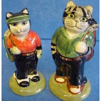 QUAIL CAT SALT & PEPPER SET - GOLFERS