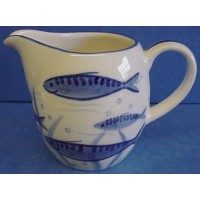 QUAIL BLUE & WHITE JUG - MACKEREL