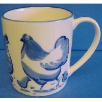 QUAIL BLUE & WHITE MUG - CHICKENS (FARMYARD)
