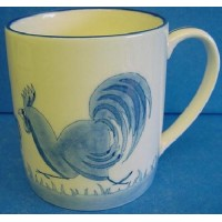 QUAIL BLUE & WHITE MUG - CHICKENS (RUNNING)