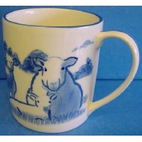 QUAIL BLUE & WHITE MUG - SHEEP