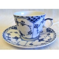 ROYAL COPENHAGEN MUSSELMALET BLUE FLUTED HALF LACE DEMITASSE COFFEE CUP & SAUCER