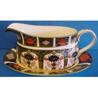 ROYAL CROWN DERBY 1128 OLD IMARI JAPAN GRAVY BOAT & STAND