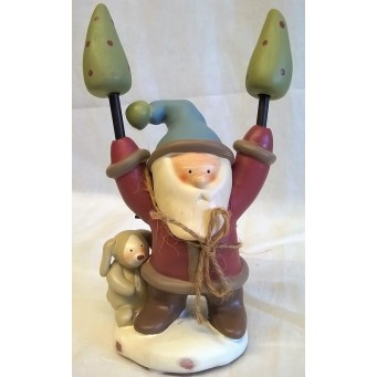 RUSS BONNIE LYNN PEACE IN THE MEADOW CHRISTMAS COLLECTION – SANTA, FIREWOOD & RABBIT FIGURE