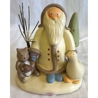 RUSS BONNIE LYNN PEACE IN THE MEADOW CHRISTMAS COLLECTION – SANTA, GOOSE & SQUIRREL FIGURE