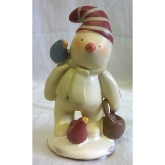RUSS BONNIE LYNN PEACE IN THE MEADOW CHRISTMAS COLLECTION – SNOWMAN WITH BUCKET & BIRDS FIGURE