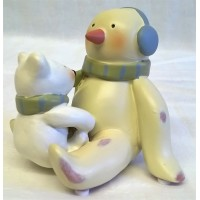 RUSS BONNIE LYNN PEACE IN THE MEADOW CHRISTMAS COLLECTION – SNOWMAN & BABY POLAR BEAR FIGURE