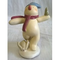 RUSS BONNIE LYNN PEACE IN THE MEADOW CHRISTMAS COLLECTION – SNOWMAN & RABBIT FIGURE