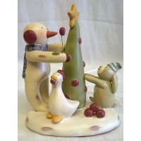 RUSS BONNIE LYNN PEACE IN THE MEADOW CHRISTMAS COLLECTION – SNOWMAN, TREE, GOOSE & RABBIT FIGURE