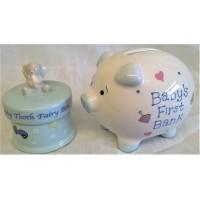 RUSS PIGGY BANK & TOOTH FAIRY TRINKET BOX GIFT SET – BLUE