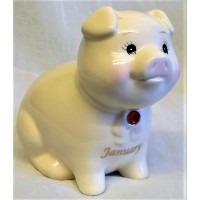 RUSS MONTHLY BIRTHSTONE PIGGY BANK - JANUARY - GARNET