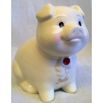 RUSS MONTHLY BIRTHSTONE PIGGY BANK - JULY - RUBY