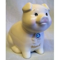 RUSS MONTHLY BIRTHSTONE PIGGY BANK - MARCH - AQUAMARINE