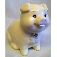 RUSS MONTHLY BIRTHSTONE PIGGY BANK - OCTOBER - OPAL