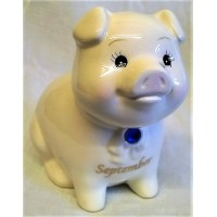 RUSS MONTHLY BIRTHSTONE PIGGY BANK - SEPTEMBER - SAPPHIRE