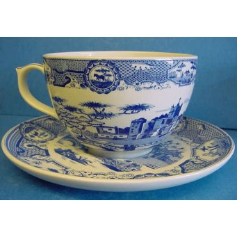 SPODE BLUE ROOM JUMBO CUP & SAUCER – GOTHIC CASTLE