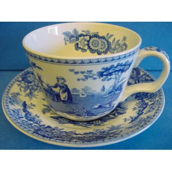 SPODE BLUE ROOM TEACUP & SAUCER – GIRL AT WELL