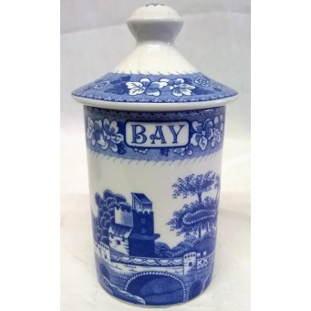 SPODE BLUE ROOM SPICE OR HERB JAR – BAY – TOWER PATTERN