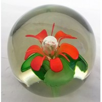 STUDIO ART GLASS PAPERWEIGHT – ORANGE & GREEN FLORAL DESIGN