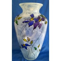 IVORYBLACK STUDIO HANDPAINTED FLORAL DESIGN 30cm ART GLASS VASE