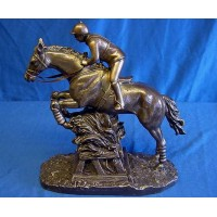 JULIANA COLD CAST BRONZE JUMPING EVENT RIDER & HORSE