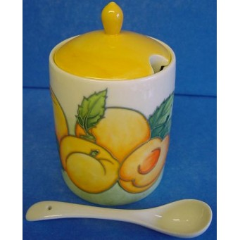 OLD TUPTON WARE APRICOT JAM JAR & SPOON SET