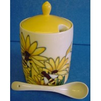 OLD TUPTON WARE HONEY JAR & SPOON SET