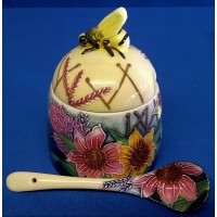 OLD TUPTON WARE SUMMER BOUQUET HONEY JAR & SPOON SET