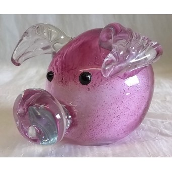 JULIANA OBJETS D'ART ART GLASS PINK PIGGY 60209B