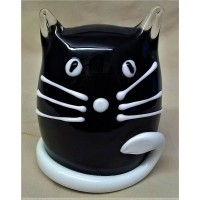 JULIANA OBJETS D'ART ART GLASS CAT – BLACK & WHITE