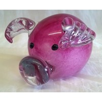 JULIANA OBJETS D'ART ART GLASS PINK PIGGY 60209A