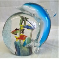 JULIANA OBJETS D'ART ART GLASS DOLPHIN AQUARIUM